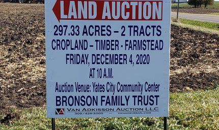 Land Auction – 297.33 Surveyed Acres – 2 Tracts – Productive Farmland & Farmstead – Knox County, IL